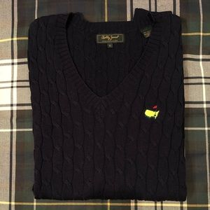 MASTERS Bobby Jones Navy Cotton Cable Knit Sweater